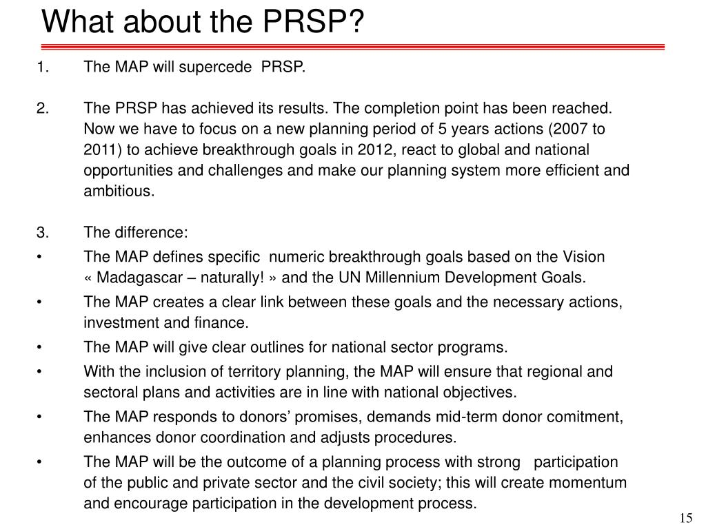 What about the PRSP?