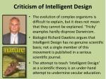 criticism of intelligent design