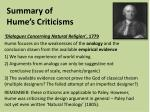 summary of hume s criticisms