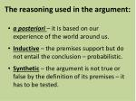 the reasoning used in the argument