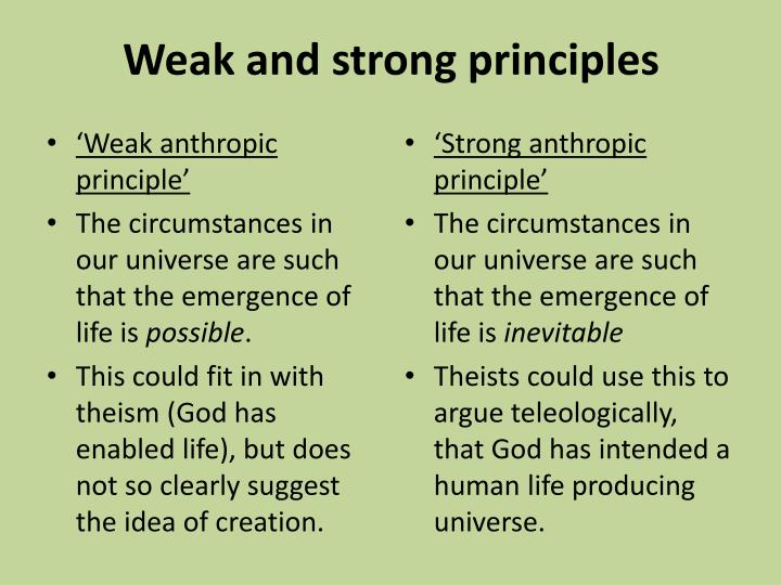 Weak and strong principles