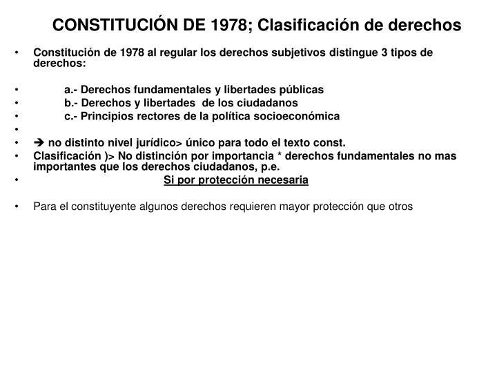 CONSTITUCIÓN DE 1978; Clasificación de derechos