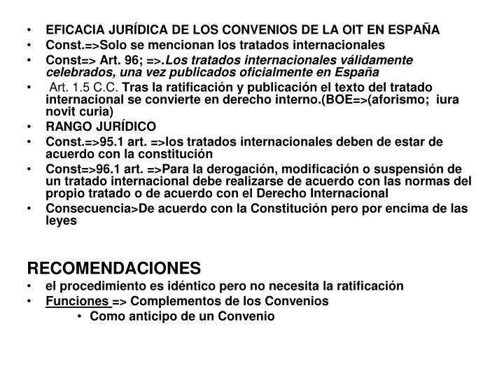 EFICACIA JURÍDICA DE LOS CONVENIOS DE LA OIT EN ESPAÑA