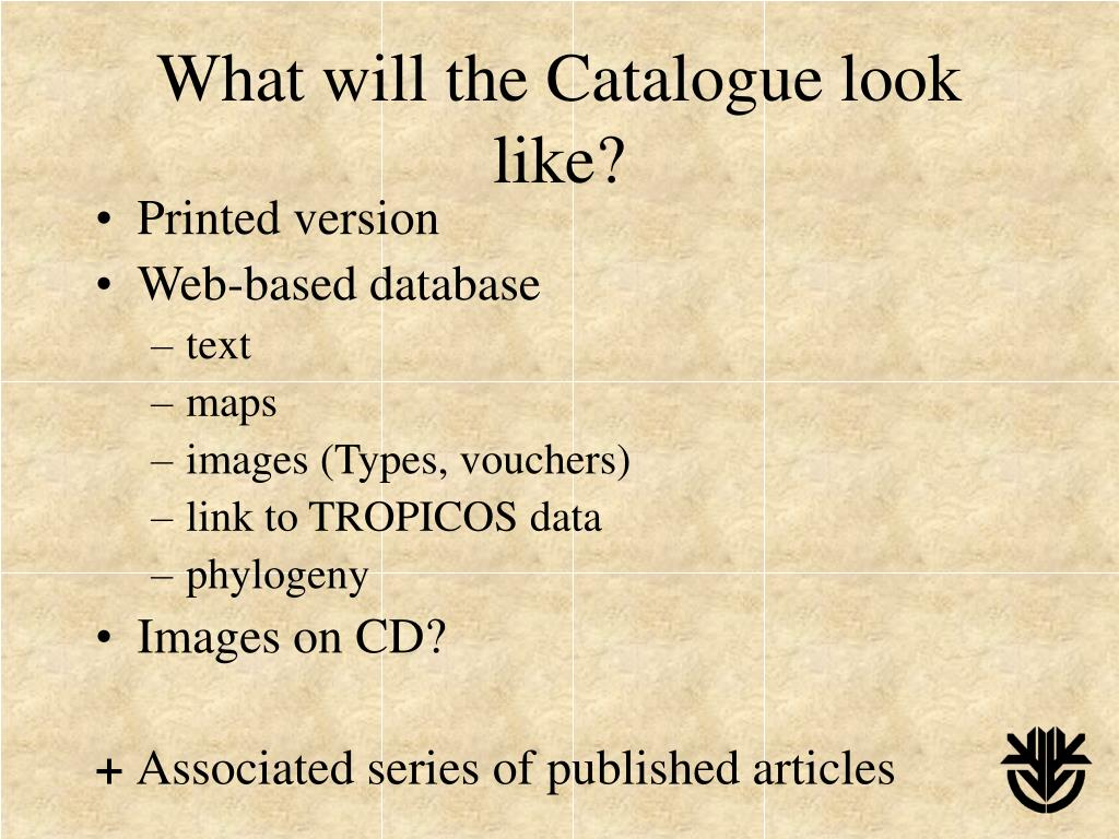 What will the Catalogue look like?