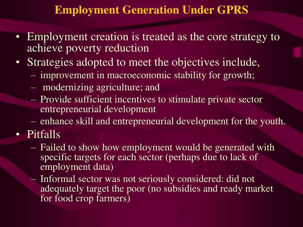 Employment Generation Under GPRS
