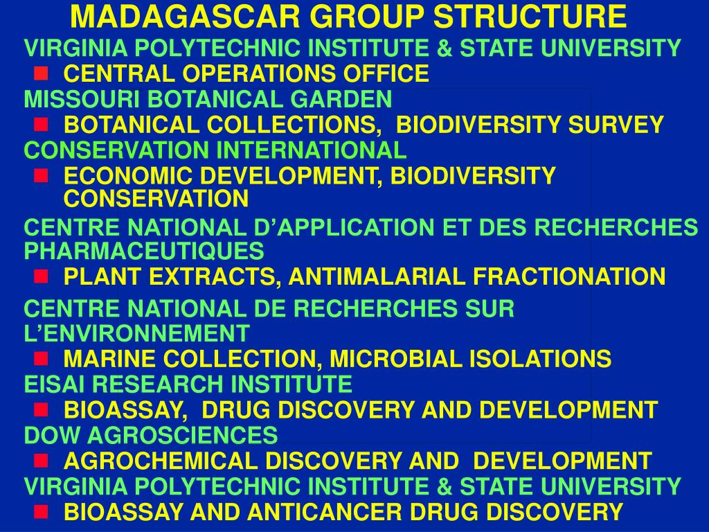 MADAGASCAR GROUP STRUCTURE