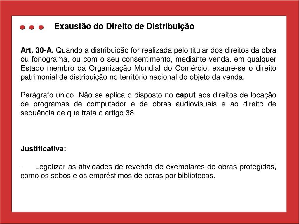 Exaustão do Direito de Distribuição