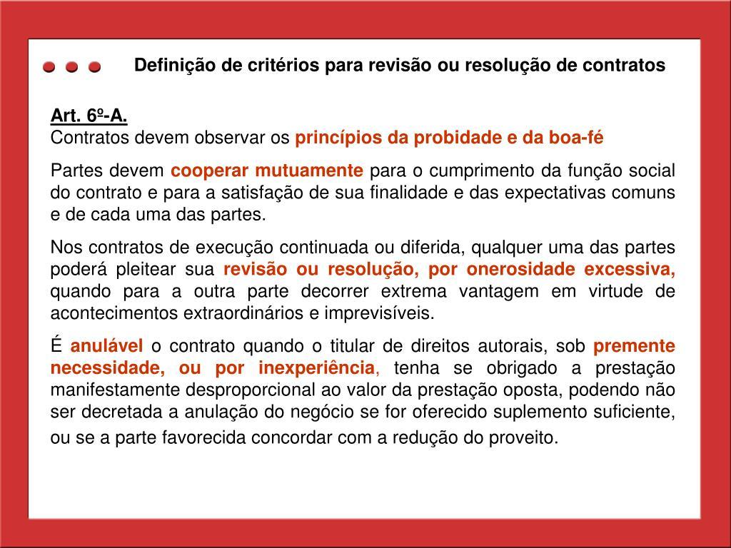 Definição de critérios para revisão ou resolução de contratos