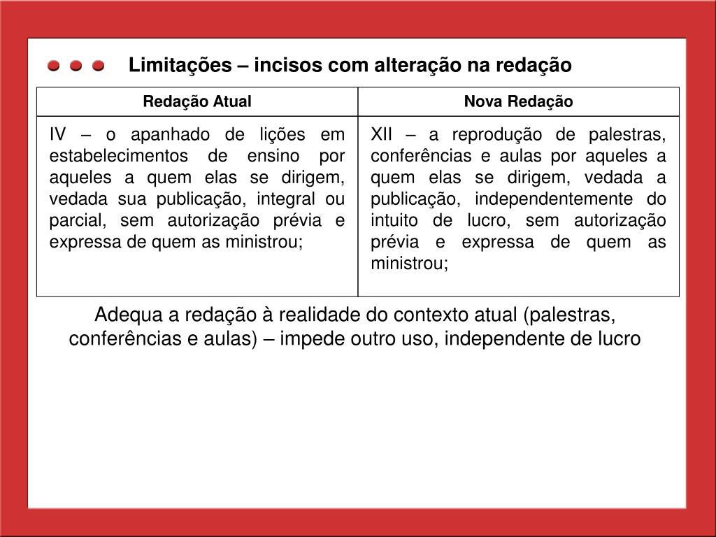 Limitações – incisos com alteração na redação