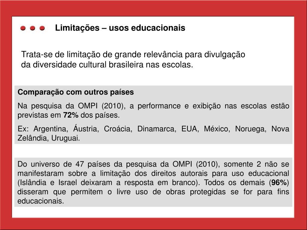 Limitações – usos educacionais