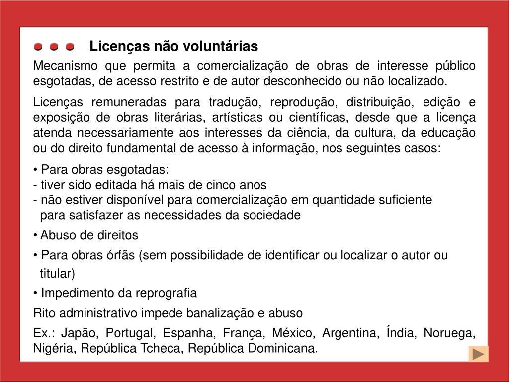 Licenças não voluntárias