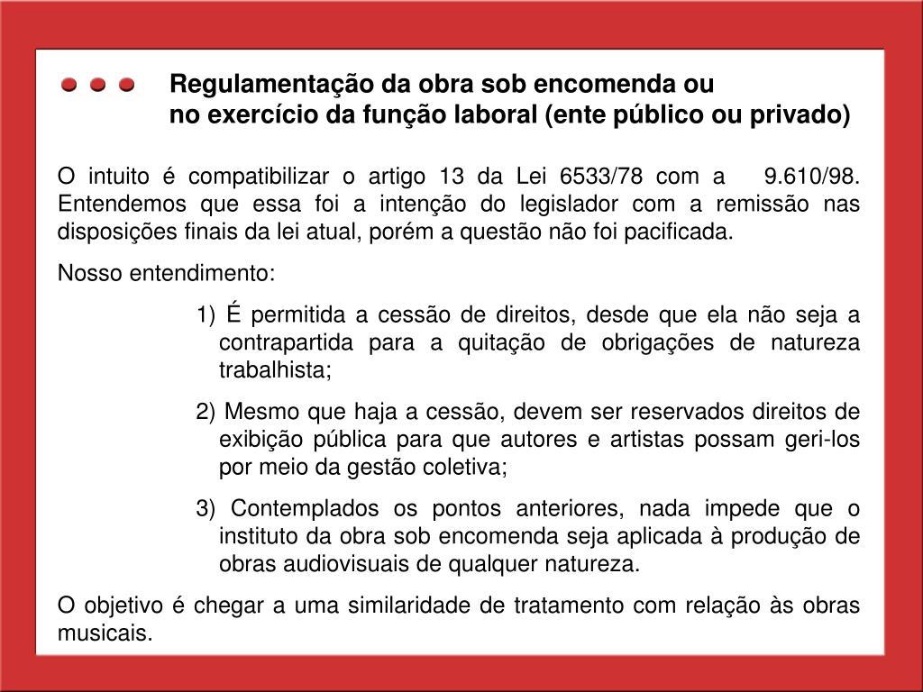 Regulamentação da obra sob encomenda ou