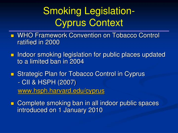 Smoking legislation cyprus context