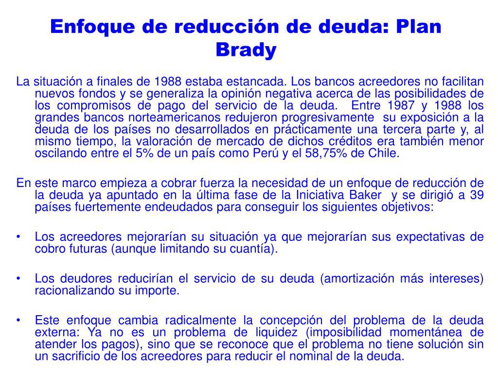 Enfoque de reducción de deuda: Plan Brady