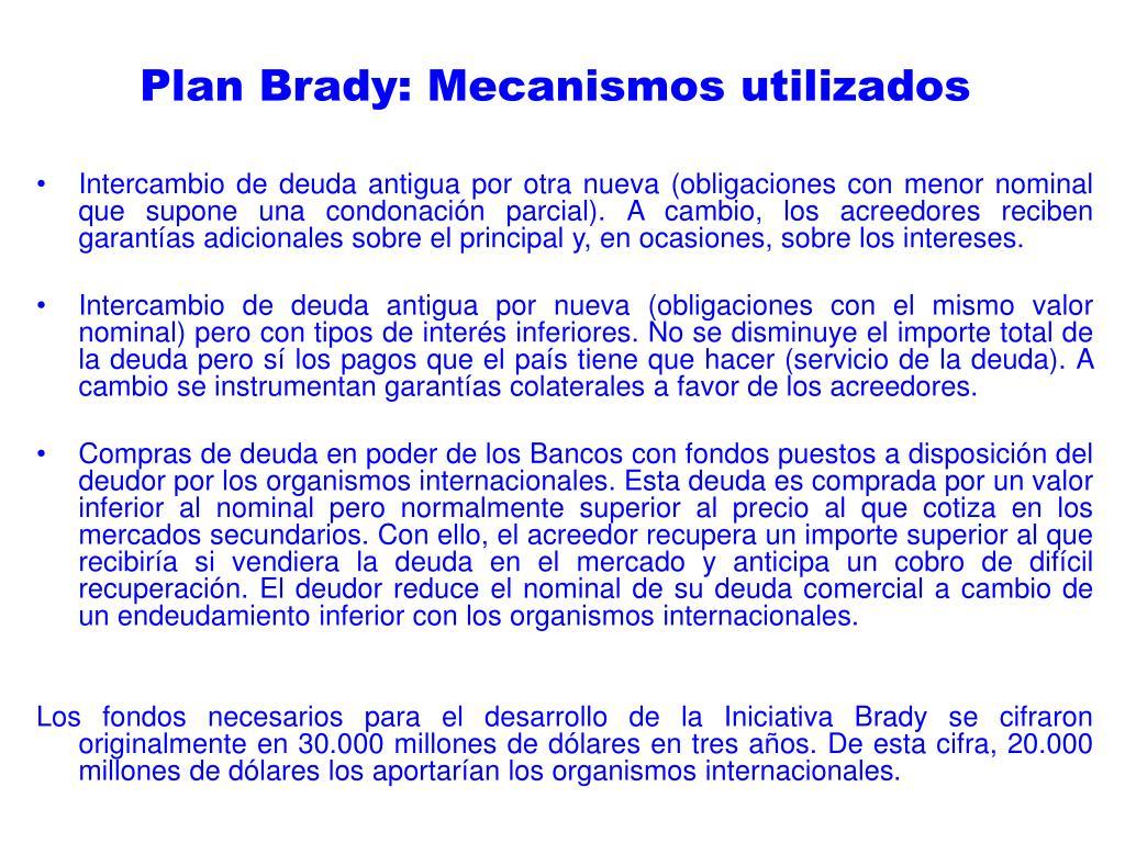 Plan Brady: Mecanismos utilizados
