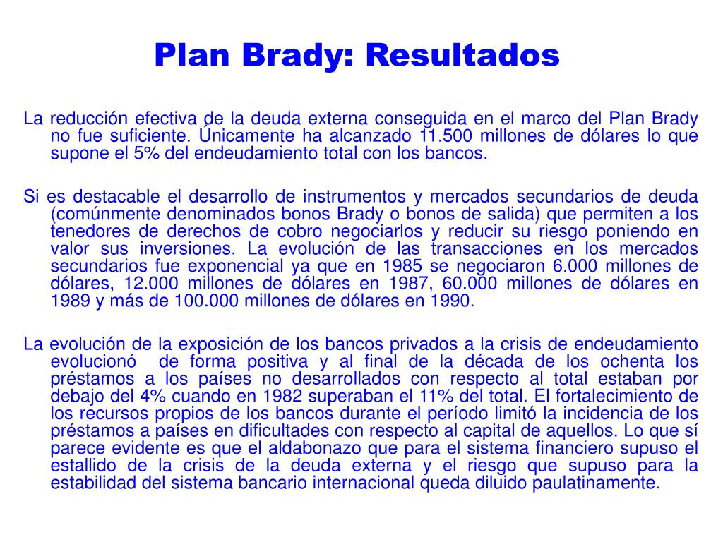 Plan Brady: Resultados