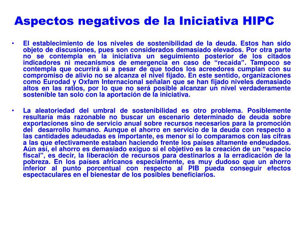 Aspectos negativos de la Iniciativa HIPC