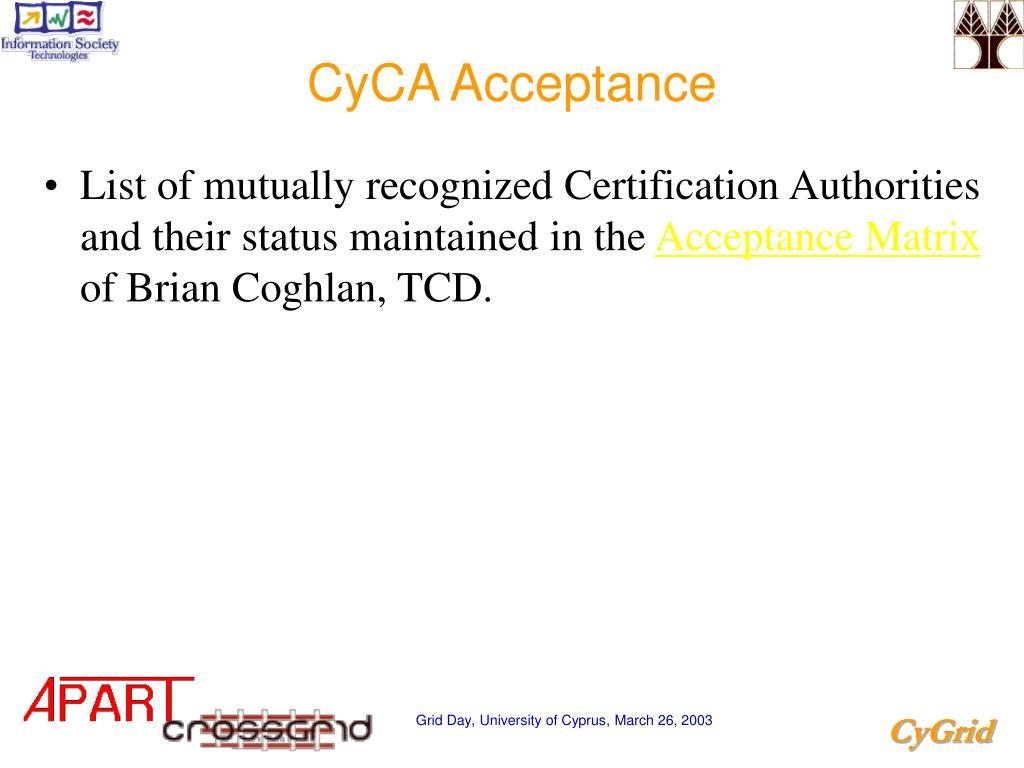 CyCA Acceptance