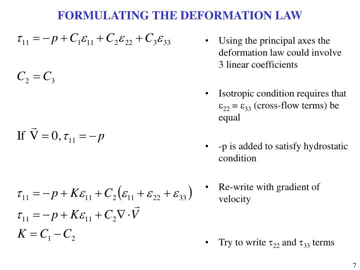 FORMULATING THE DEFORMATION LAW