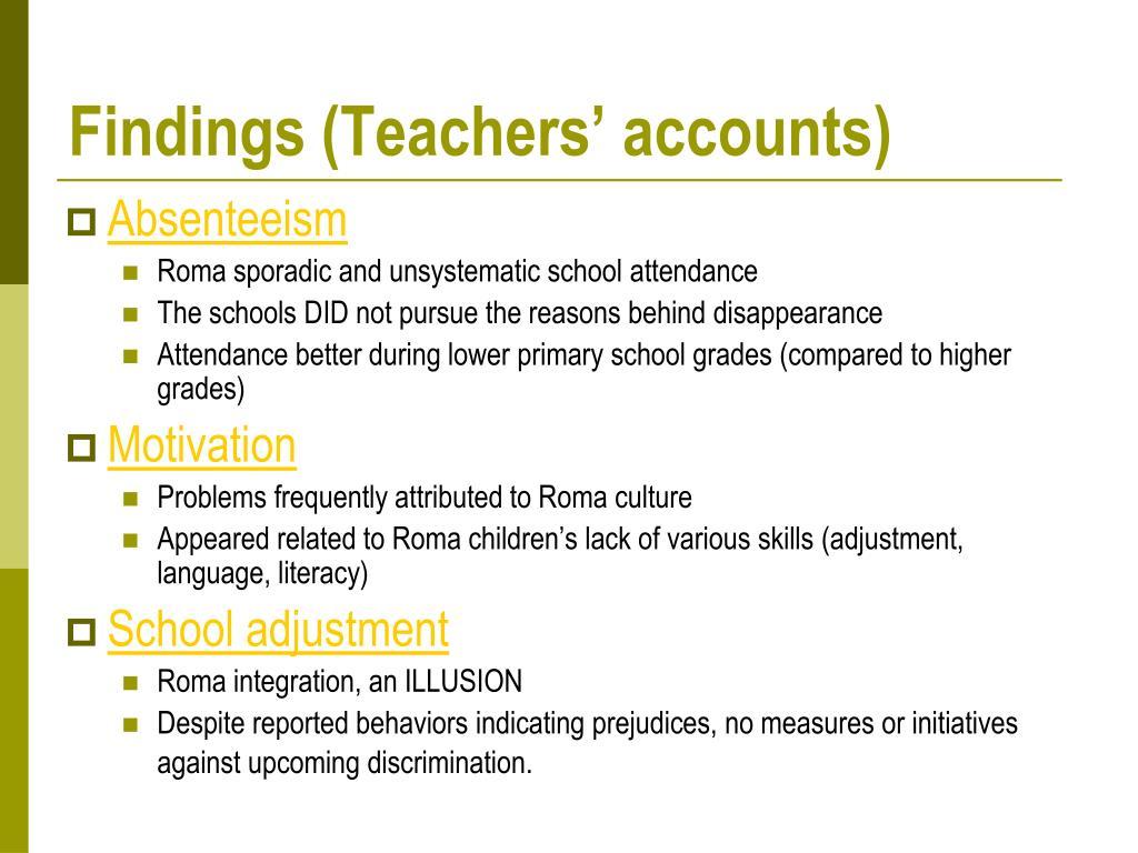 Findings (Teachers' accounts)