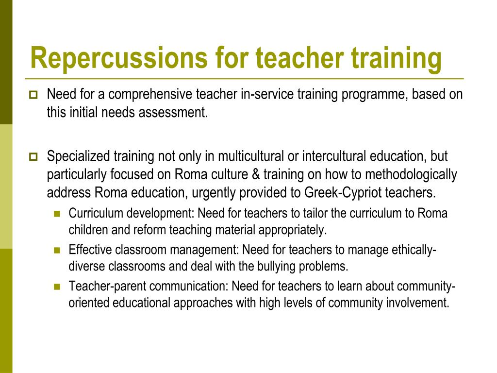 Repercussions for teacher training
