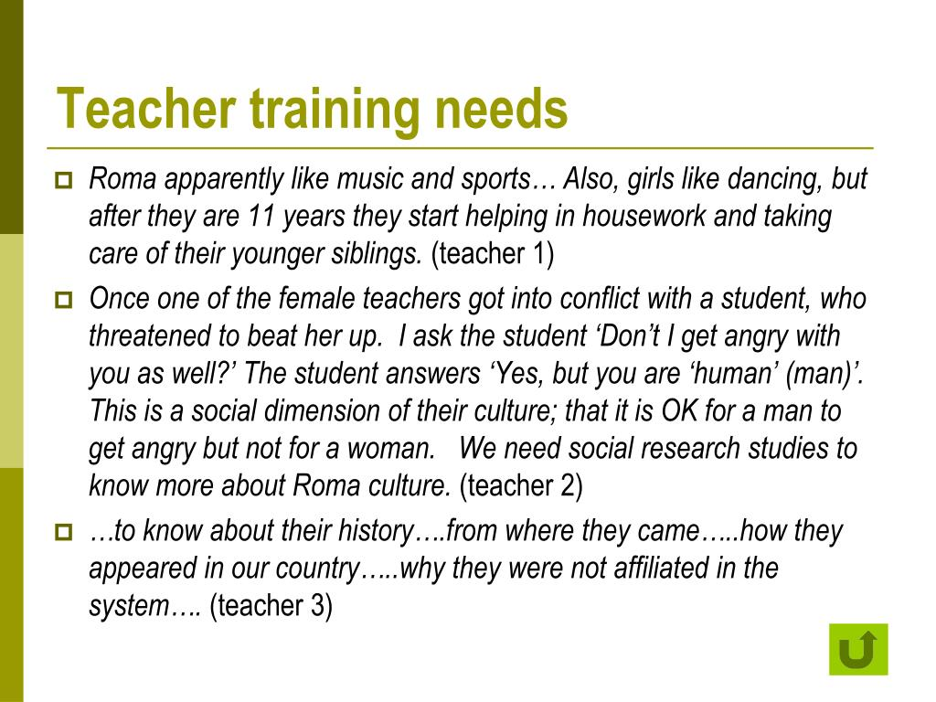 Teacher training needs