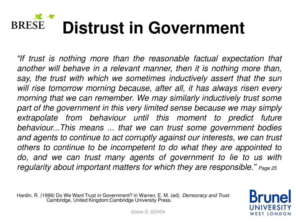 Distrust in Government