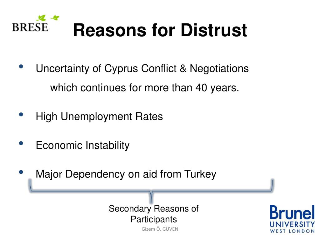 Reasons for Distrust