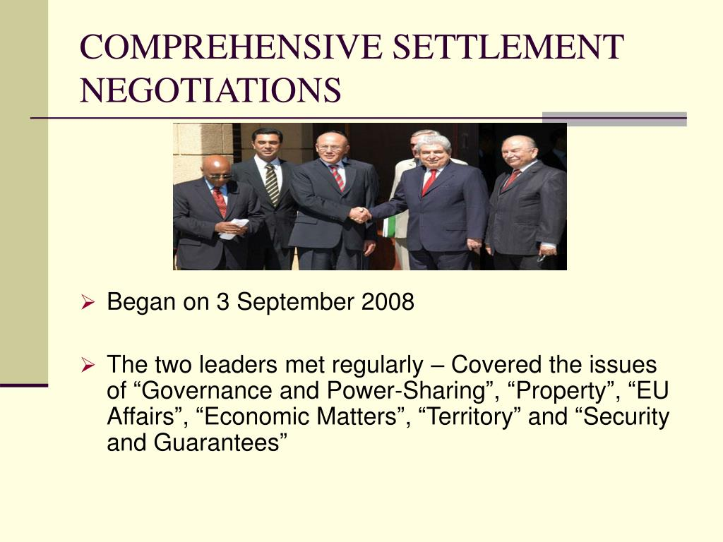 COMPREHENSIVE SETTLEMENT NEGOTIATIONS