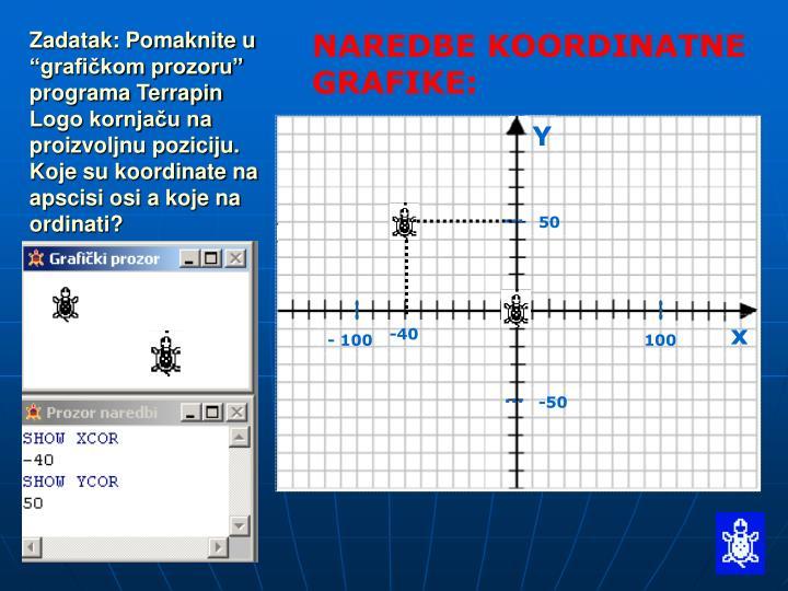 """Zadatak: Pomaknite u """"grafičkom prozoru"""" programa Terrapin Logo kornjaču na proizvoljnu poziciju.   Koje su koordinate na apscisi osi a koje na ordinati?"""