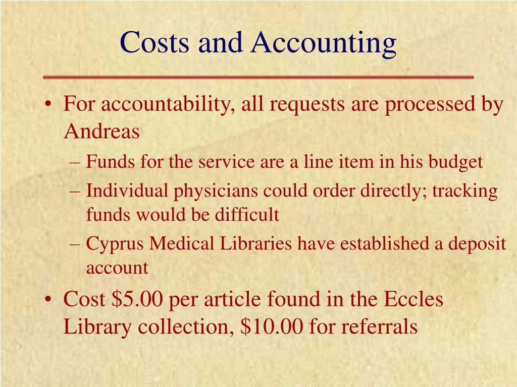 Costs and Accounting
