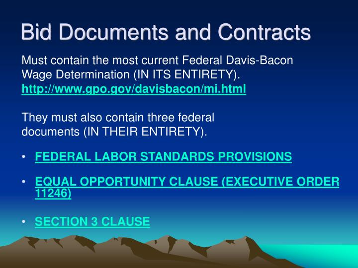 Bid Documents and Contracts