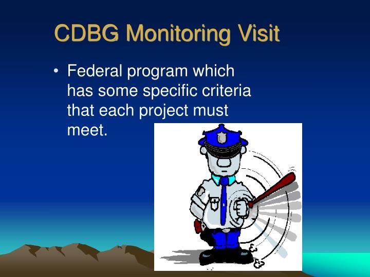 CDBG Monitoring Visit