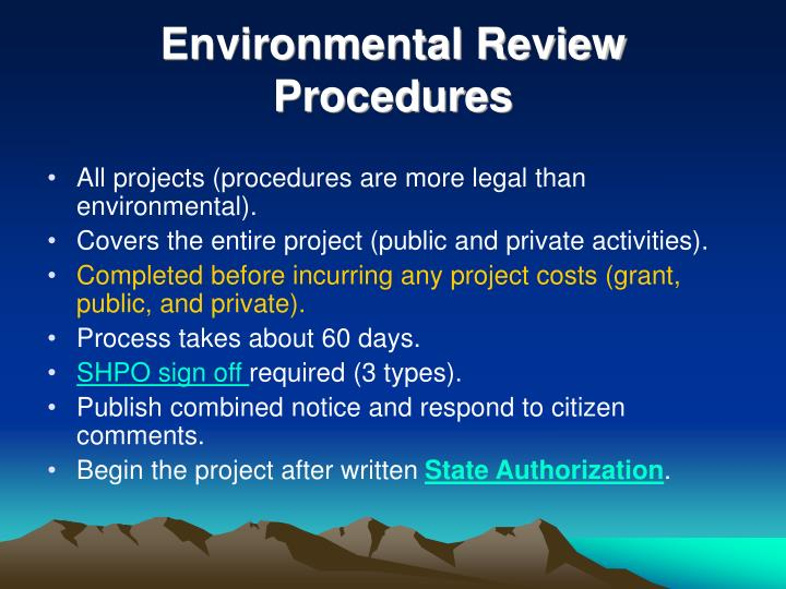 Environmental Review Procedures