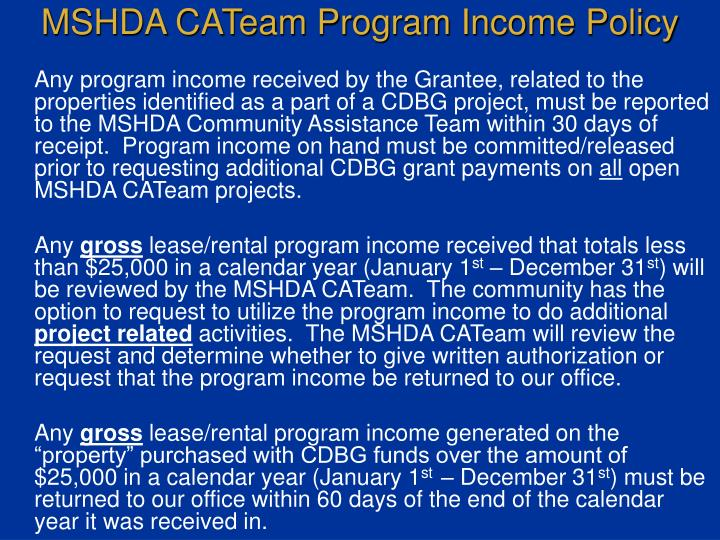 MSHDA CATeam Program Income Policy