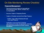 on site monitoring review checklist