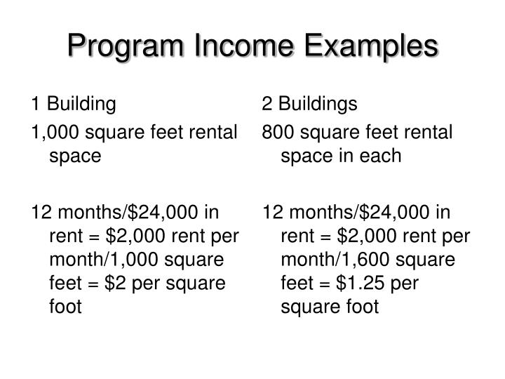 Program Income Examples