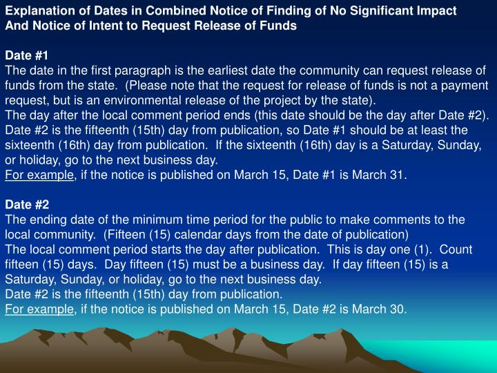 Explanation of Dates in Combined Notice of Finding of No Significant Impact