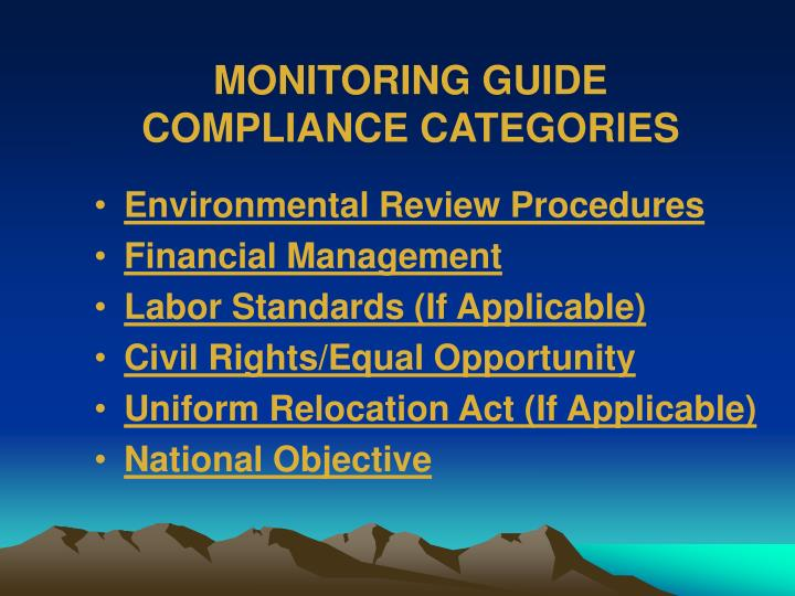 MONITORING GUIDE COMPLIANCE CATEGORIES