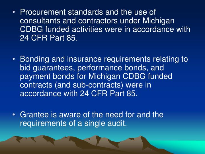 Procurement standards and the use of consultants and contractors under Michigan CDBG funded activities were in accordance with 24 CFR Part 85.