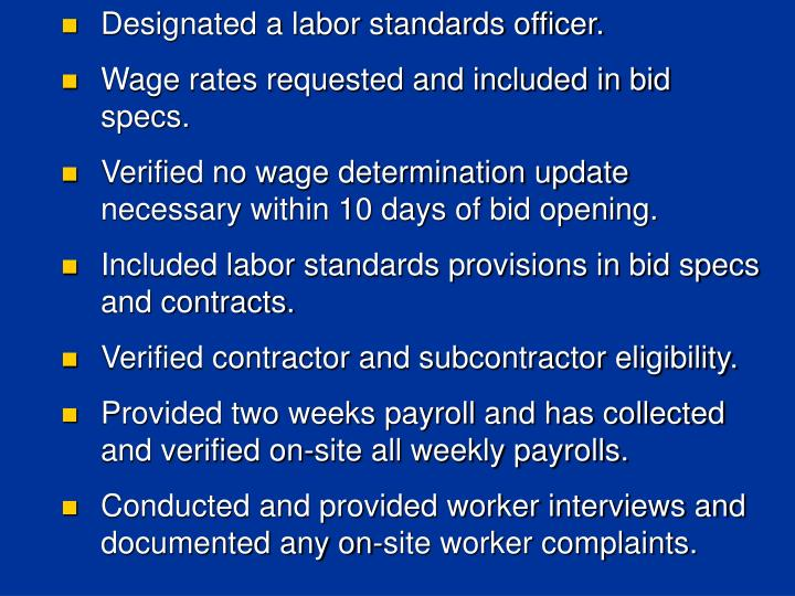 Designated a labor standards officer.