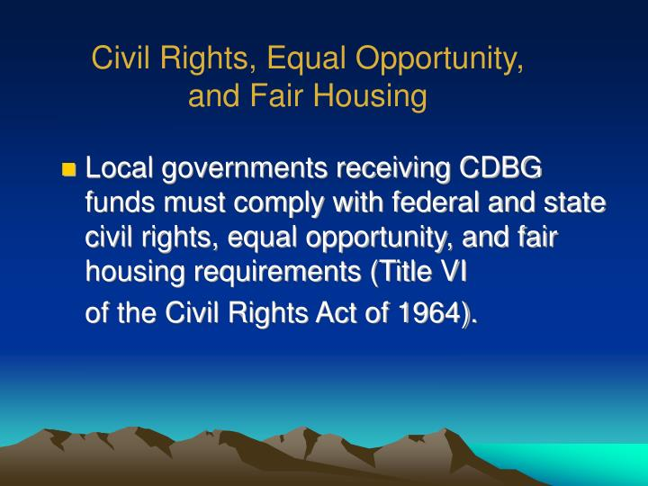 Civil Rights, Equal Opportunity,