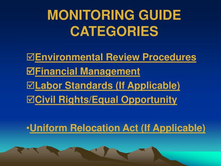 MONITORING GUIDE CATEGORIES