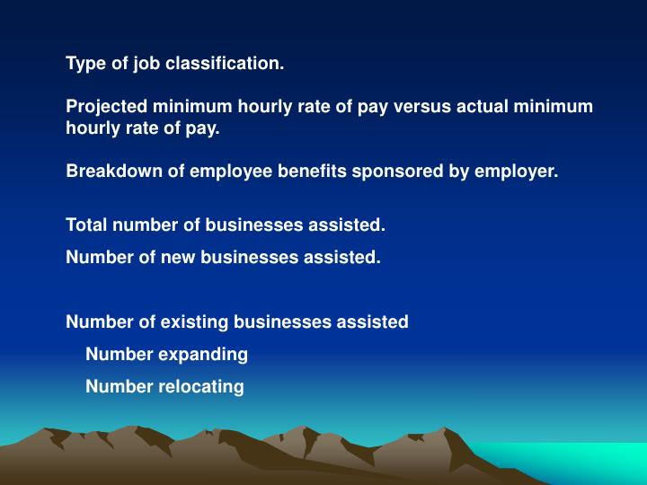 Type of job classification.