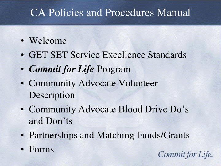 CA Policies and Procedures Manual