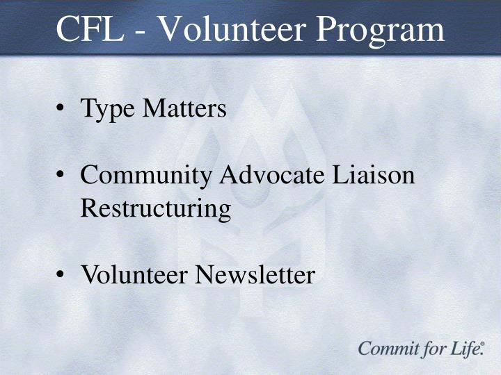CFL - Volunteer Program