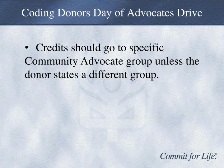 Coding Donors Day of Advocates Drive