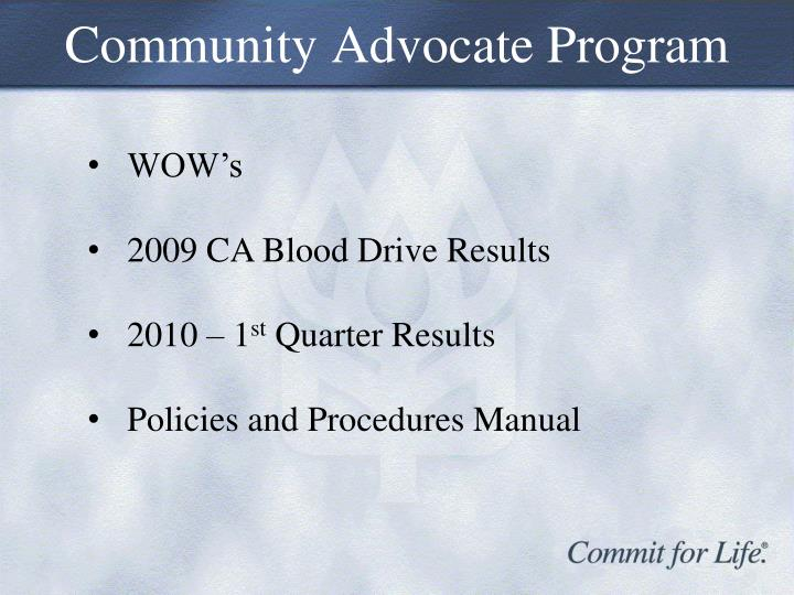 Community Advocate Program