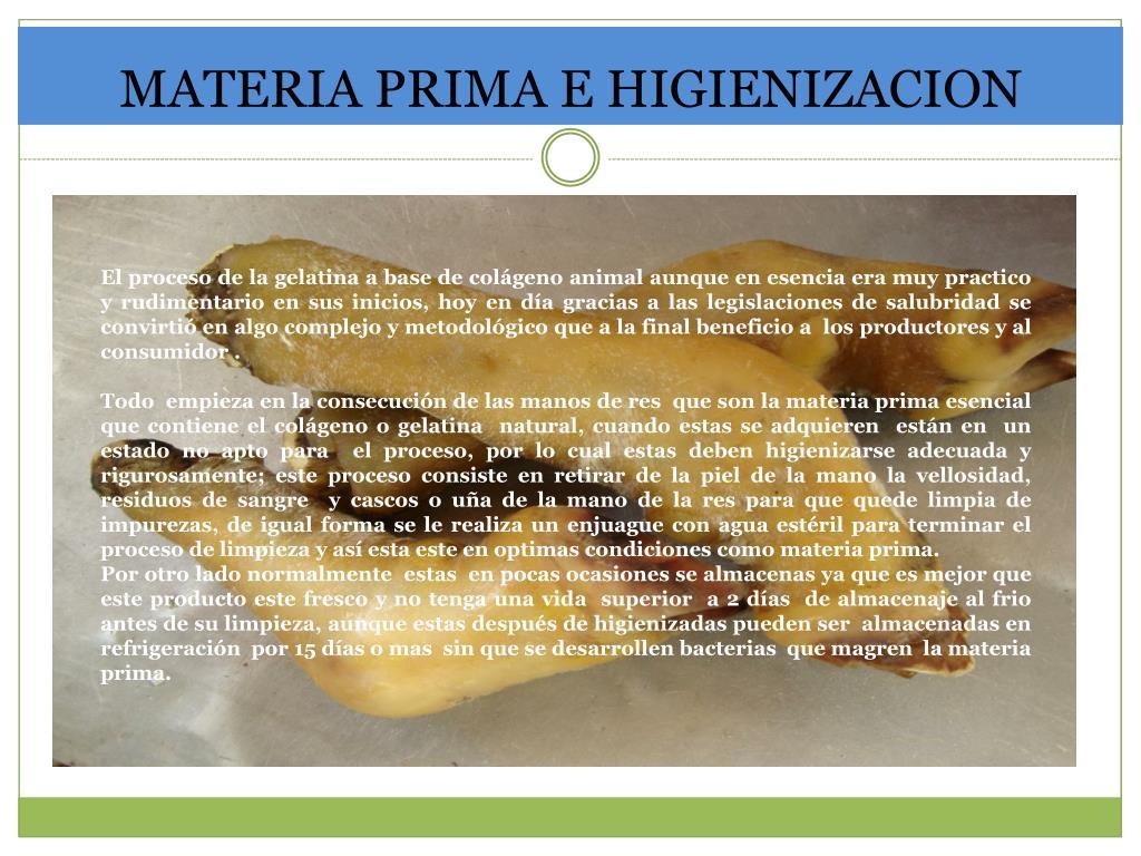 MATERIA PRIMA E HIGIENIZACION