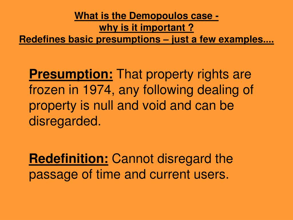 What is the Demopoulos case -